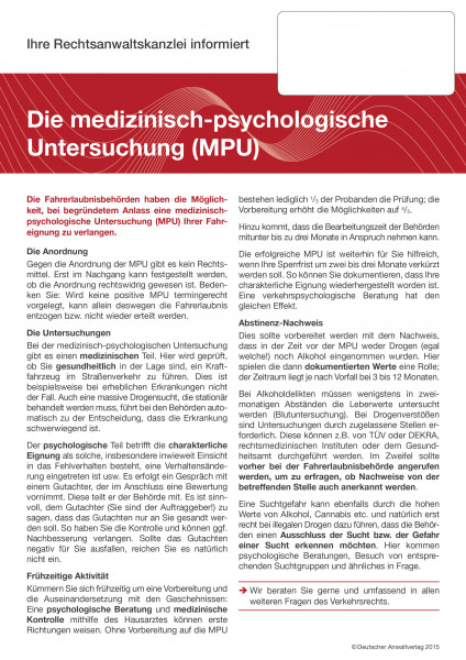 Mandanteninformationen Verkehrsrecht - eBook im pdf-Format